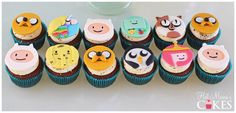12 Adventure Time edible Fondant Cupcake toppers Jake 3 - Finn 1 - Princess Bubblegum 1 - Beemo 1 - Lady Rainicorn 1 - Gunter 1 - Cake 1 - Tree Trunks Please include date of event when making your purchase Adventure Time Cupcakes, Adventure Time Birthday Party, Adventure Time Parties, Jake Adventure Time, Adventure Time Marceline, Abenteuerzeit Mit Finn Und Jake, All Tomorrow's Parties, Winnie The Pooh Cake, Cream Aesthetic