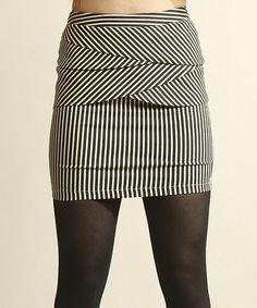 Love this Black & White Stripe Miniskirt by Young Threads on #zulily! #zulilyfinds