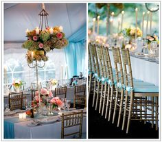 Romantic wedding... bamboo chairs, bunches of flowers, candles