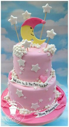We Love you to the moon and back birthday cake twinkle twinkle little star clouds moon stars pink and white sparkle 1st birthday www.bluestarbakes.co.uk www.facebook.com/bluestarbakes