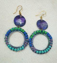 Patina metal  long hoop earrings Vintaj ink by ToBeUniqueJewelrys, $24.99