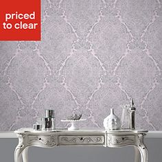 Graham & Brown Fibrous windsor Lilac & pewter Metallic effect Wallpaper - B&Q for all your home and garden supplies and advice on all the latest DIY trends Mink Wallpaper, Metallic Wallpaper, Graham Brown, Pewter Metal, Garden Supplies, Windsor, Lilac, Home And Garden, Home Decor