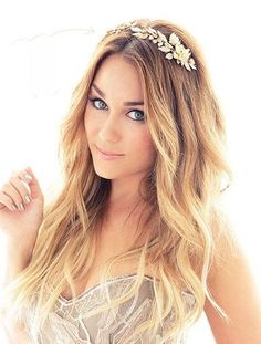 beachy waves with gold headpiece