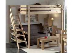 simple, minimalist staired loft bed