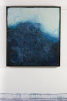 Untitled Water, a Acrylic on Wood by Abby Kasonik from United States. It portrays: Water, relevant to: blue, water, contemporary, abstract, landscape, modern, ocean surface resembles many layers of wax, excellent condition, hanging hardware included