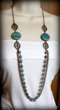 Necklace with Blue Sky Jasper and Long Antique Copper Chains | byBrendaElaine - Jewelry on ArtFire