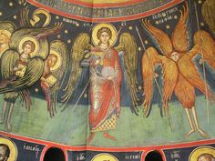 61 Byzantine, Ikon, Jesus Christ, Christianity, Scene, Painting, Angeles, Angels, Sacred Art