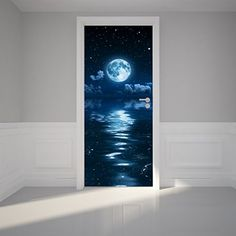 Door Wall Sticker Moon and clouds - Peel & Stick Repositionable Fabric Mural 80cm x 200cm RoyalWallSkins http://www.amazon.co.uk/dp/B00X0PZW50/ref=cm_sw_r_pi_dp_GNDBvb05PJ6F5