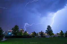 Lightning over downtown Colorado Springs this week. By Forrest Boutin Photography