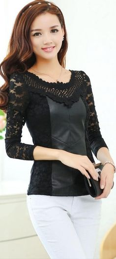 Long Sleeve Lace and PU Leather Blouse YRB0344 £11.20