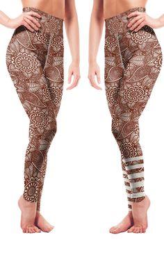 b9848b59d2ca94 Ornamental mehndi(henna) design pattern Unique leggings by Vosenta. # leggings #sportswear