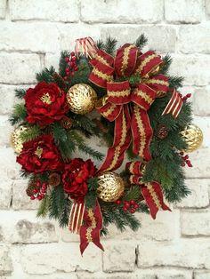 Christmas Wreath, Holiday Wreath, Christmas Decor, Outdoor Christmas,Christmas Door Wreath,Winter Wreath,Silk Floral Wreath,Grapevine Wreath by AdorabellaWreaths on Etsy https://www.etsy.com/listing/170093182/christmas-wreath-holiday-wreath