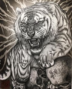 I did this tiger drawing for upcoming art exhibition together with sensei next year October. I am truly honored 🙏🏻This is done… Tattoo Sketches, Tattoo Drawings, Cool Drawings, Body Art Tattoos, Sleeve Tattoos, Animal Drawings, Tiger Tattoo Design, Tattoo Designs, Tiger Design