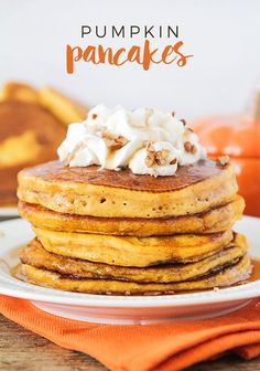 Pumpkin Pancakes - These pumpkin pancakes so light and fluffy, with the perfect pumpkin spice flavor. A delicious fall breakfast everyone will love!