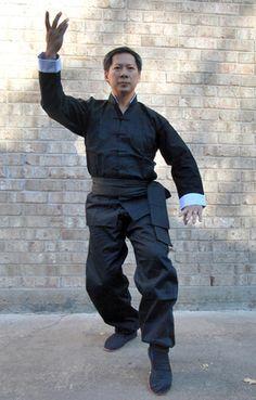 Eagle Kung Fu Uniform #545 - BEIJING IMPORTS Tai Chi Clothing, Kung Fu Uniform, Black Frog, Martial Arts Training, White Collar, Pose Reference, Beijing, Collars, Eagle