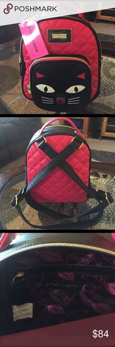 """NEW! BETSEY JOHNSON CAT FACE HEART BACKPACK BRAND NEW! AUTHENTIC BETSEY JOHNSON QUILTED WINGED HEART CAT FACE BACKPACK-Approximate Measurements-10"""" X 9"""" X 4""""-NEVER USED! EXCELLENT NEW CONDITION!! PINK & BLACK IN COLOR***** Betsey Johnson Bags Backpacks"""