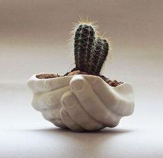Porcelain planter - Folded Hands / Ceramics and Pottery / Handmade by SCULPTUREinDESIGN / White color / Decor & Housewares / Funny gift on Etsy, kr Hand Planters, Ceramic Planters, Indoor Planters, Planter Pots, Ceramic Pottery, Ceramic Art, Slab Pottery, Pottery Vase, Ceramic Mugs