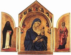 Duccio (1260–1318) TriptychDescription  Left panel: Saint Dominic. Center panel: Madonna and child with four angels, with Daniel, Moses, Isaiah, David, Abraham, Jacob and Jeremiah above. Right panel: Saint Agnes.  Datebetween 1300 and 1305Mediumtempera on woodDimensionsHeight: 61.5 cm (24.2 in). Width: 78 cm (30.7 in).Current location  National Gallery