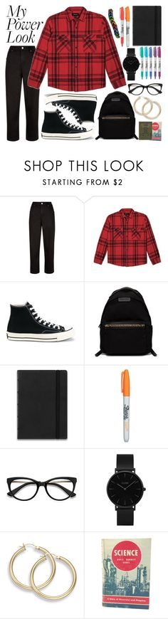 """""""What's Your Power Look?"""" by basmahahmed ❤ liked on Polyvore featuring Jaeger, Brixton, Converse, STELLA McCARTNEY, FiloFax, Sharpie, EyeBuyDirect.com, CLUSE and MCM"""