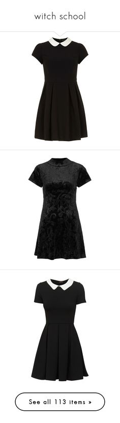 """witch school"" by punkhale ❤ liked on Polyvore featuring dresses, vestidos, black, short dresses, peter pan dress, dorothy perkins dresses, dorothy perkins, peter pan collar mini dress, short velvet dress and baby doll dress"