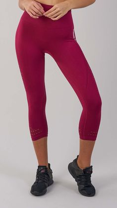 Must-have leggings. The high waist of the Energy Seamless Crop Leggings offers elite support, with a close and comfortable fit that feels secure. DRY technology wicks sweat from the skin, whilst soft fabric stretches effortlessly with your movements. Complete with eyelet detailing to the ankle and thigh. Coming soon in Beet.