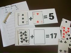 Addition and Subtraction with Playing Cards- great for a math center