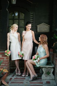 Anna Elyse Bridesmaids Spring 2013 Collection    Style Names (L to R)- Jamie with Ruffle Halter, Lindsay with Bowed Cut-Away, Audrey with Keyhole Halter www.annaelyse.com   Color Names (L to R): Cream of the Crop Silk Essence, Peach Silk Dupioni, Light Mint Taffeta  Unique, short, cocktail style Silk, Silk Essence and Taffeta bridesmaid dresses with coordinated styling  Photo by Lizzi Photography
