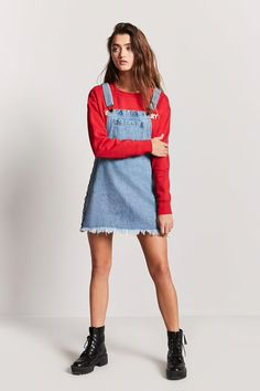 Lace-Up Denim Overall Dress
