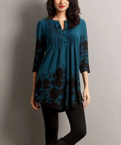 Love this Emerald Floral Notch Neck Tunic on #zulily! #zulilyfinds