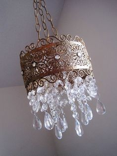 Vintage Style French Brocade Band Candle Chandelier in Antiqued Gold Leaf MADE TO ORDER on Etsy, $190.00