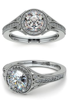 Forty four round cut diamonds (depending on center stone) are pave and bezel set in this white gold diamond engagement ring setting with milgrain detail and an Art Deco inspired structure, set with your choice of center diamond.