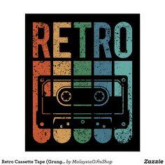 Retro Cassette Tape (Grunge Effect) Black Poster. Diy Poster, Poster Design, Vintage Design Poster, Art Grunge, Grunge Goth, Retro Vintage, Retro Art, Retro Logos, Black Poster