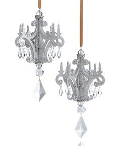 Set of 2 Glitter Chandelier Ornaments by Holiday Lane - Found on HeartThis.com @HeartThis | See item http://www.heartthis.com/product/538589617272754266?cid=pinterest