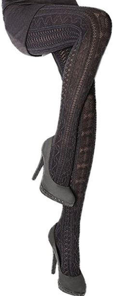 e61742ed4a2 Fabiane 1 Black Cable knit pattern Medium at Amazon Women s Clothing store   Tights