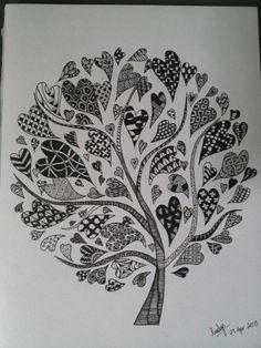 Doodling heart tree, doodle trees, drawings of hearts, tangle art, tangle d Zentangle Drawings, Doodles Zentangles, Zentangle Patterns, Doodle Drawings, Doodle Art, Doodle Trees, Heart Doodle, Zentangle Art Ideas, Zen Doodle Patterns