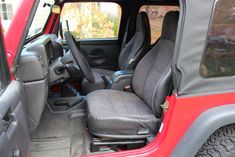 2002 Jeep Wrangler X Red 6 cylinder manual - Carsfortheconnoisseur 2002 Jeep Wrangler, Used Jeep, Clock Spring, Car Seats, Manual, Red, Textbook