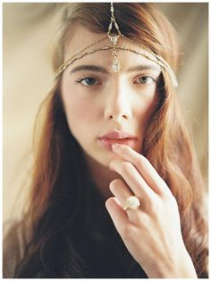 Jeweled hair piece by Enchanted Atelier by Liv Hart from the 2015 collection. Image by Laura Gordon, ring from Trumpet & Horn.
