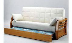 Sofá cama clic clac con cama nido. Sofa cama tapizado en tela de tres plazas.