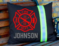 Tan MALTESE Cross and Name Pillow Firefighter by FullyInvolvedStch