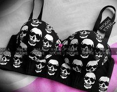 Bra bones Brasier Skull Brasier bones Brasier by MalaNocheStore Skull Fashion, Dark Fashion, Gothic Fashion, Emo Outfits, Cute Outfits, Fashion Outfits, Womens Fashion, Skull Outfits, Pearl Underwear