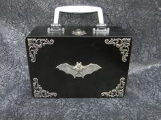 Silver Filigree Large Corner Wood Goth Bat Purse Gothic Wooden Handbag