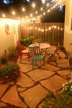 i could do this basic patio idea for my tiny side yard...could be cool