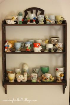 A collection of vintage egg cups.