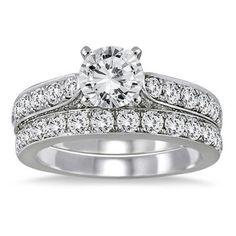 For Women's 2.5ct D/VVS1 Round Diamond 14k White Gold Engagement Bridal Ring Set #Jewelsbyeanda