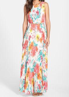 Vestido sin manga flores plisado -(Sheinside)