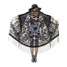 Sheer Silk Burnout Velvet Fringe Hippie Boho Gypsy Cape Festival... (2 080 ZAR) ❤ liked on Polyvore featuring outerwear, jackets, kimonos, tops, boho, silver, women's clothing, cape coat, fringe jackets and sheer kimono jacket