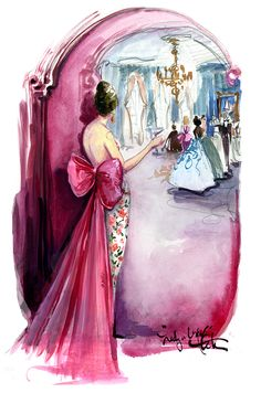 A lady dressed in Oscar de la Renta peering into a fairytale world by Katie Rodgers