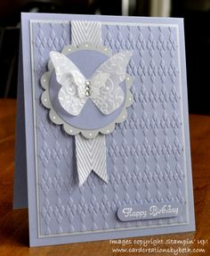Card Creations by Beth: Embossed Vellum Butterflies; stampin up Argyll embossing folder, butterfly punches, cardstock and ribbon Making Greeting Cards, Greeting Cards Handmade, Handmade Birthday Cards, Happy Birthday Cards, Special Birthday, Embossed Cards, Butterfly Cards, Butterfly Birthday Cards, Purple Butterfly