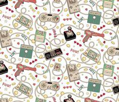 Favourite Game Retro White fabric by teja_jamilla on Spoonflower - custom fabric