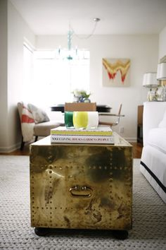 brass trunk- reminiscent of the one aunt B passed along to me. blacken to incorporate into decor